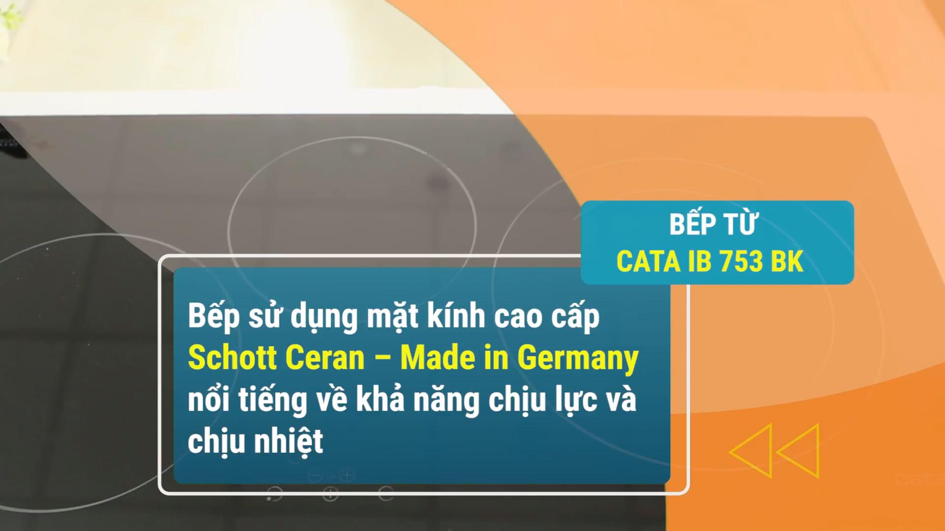 Mặt kính bếp từ Cata IB 753BK